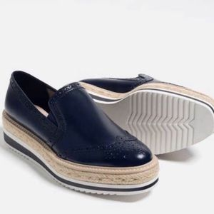 ZARA Navy Platform Espadrilles Slip On Loafers 8